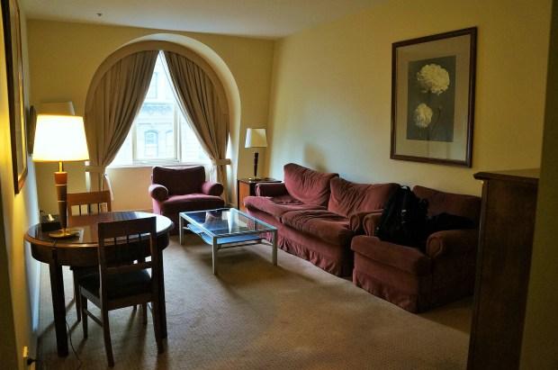 Sala de estar do nosso quarto em Melbourne