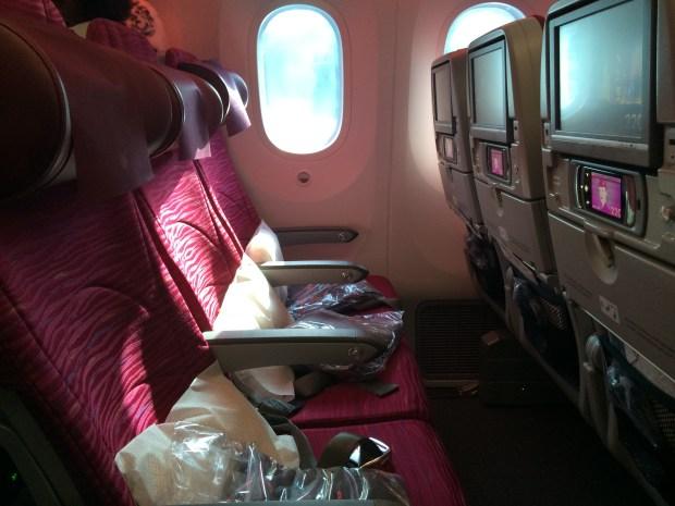 Voando com Qatar Airways de Doha para Bruxelas tivemos melhores assentos