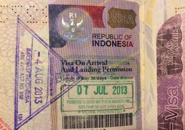 imigração e visto para Bali - visto antigo