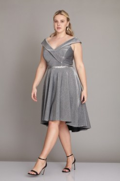 Сребриста макси рокля
