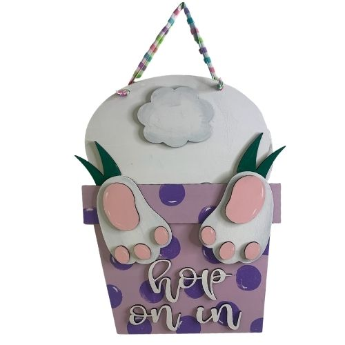 Bunny Hop on In Easter Door Hanger