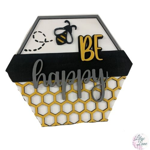 Be Happy Honey Comb Sign by Lilac Line DIY