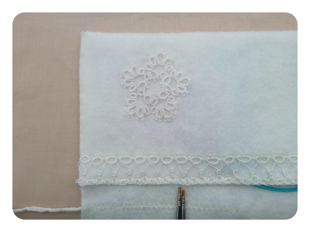 Decorated knitting needle pocket