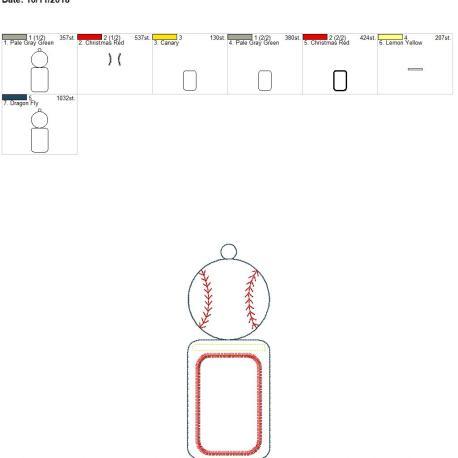Baseball ID holder 5×7