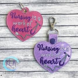 ITH Nursing is a Work of Heart eyelet and snap tab 4×4 and 5×7 grouped – Embroidery Design – DIGITAL Embroidery design