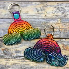 ITH Rainbow Snap Tab & Eyelet Fob 4×4 and 5×7 included- Embroidery Design – DIGITAL Embroidery DESIGN