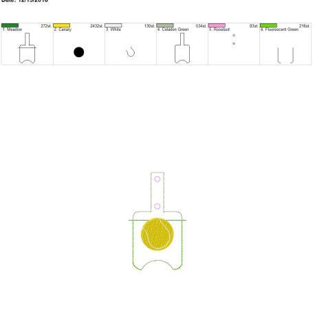 Tennis Sanitizer holder snap tab 5×7