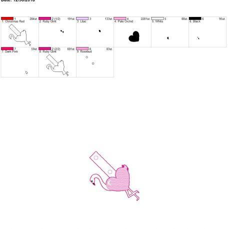 Valentine Heart Flamingo snap tab 4×4