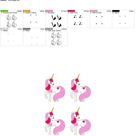 Valentine Unicorn Feltie 3inch 5×7 grouped