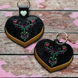 ITH – Valentine Ice Sister Princess Fobs 4×4 and 5×7 Grouped- Digital Embroidery Design