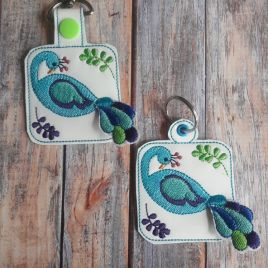 ITH 3D Peacock Fobs- 4×4 and 5×7 grouped- DIGITAL Embroidery DESIGN