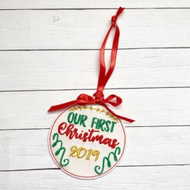 ITH – Our First Christmas 2019 Ornament 4×4 and 5×7 grouped – Digital Embroidery Design