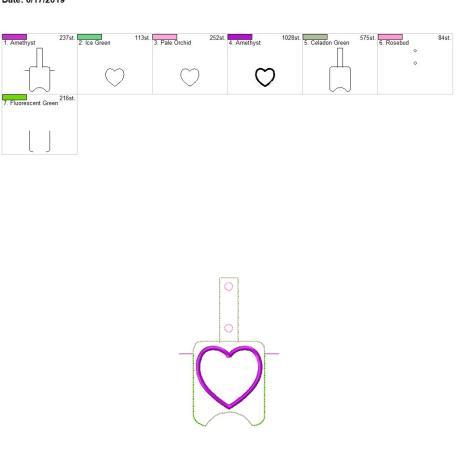 applique heart Sanitizer holder snap tab 5×7