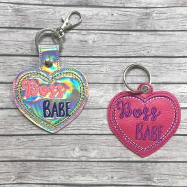 ITH Boss Babe Fobs – 4×4 and 5×7 grouped-DIGITAL Embroidery DESIGN