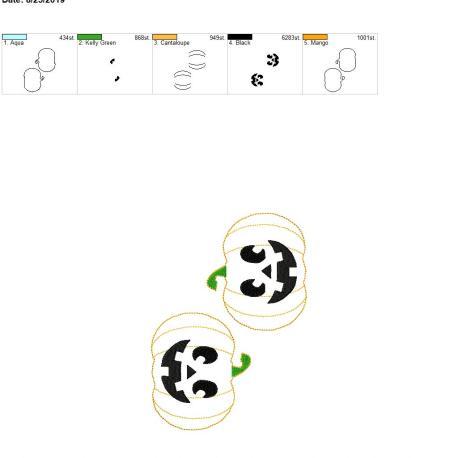 Jack o lantern 3.75inch feltie 5×7 grouped