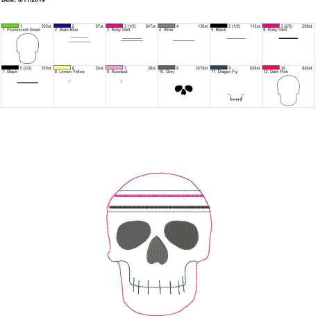 Skull zipper bag 5×7