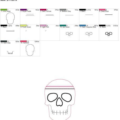 Skull zipper bag 8×12