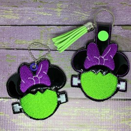 ITH Miss Mouse Frank Snap Tab & Eyelet Fob 4×4 and 5×7 included- DIGITAL Embroidery DESIGN