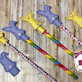 ITH Bunny Pencil Toppers 4×4 and 5×7 included- DIGITAL Embroidery DESIGN