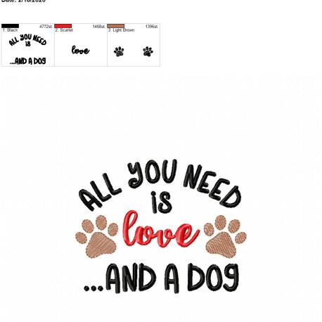 All you need is love and a dog 5×7