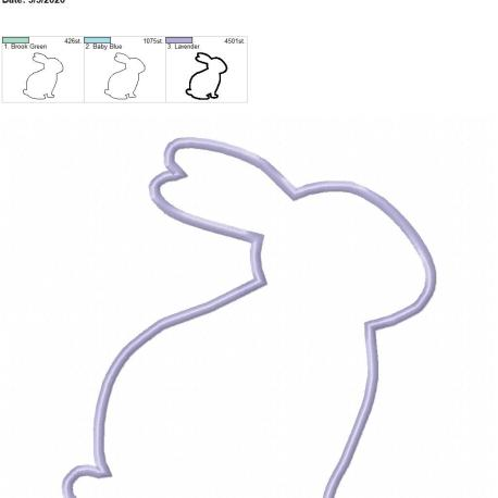 bunny applique 8×12