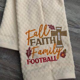 Fall Faith Family Football – 2 Sizes – Digital Embroidery Design
