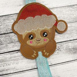 Santa Sloth – Book Band – Embroidery Design, Digital File