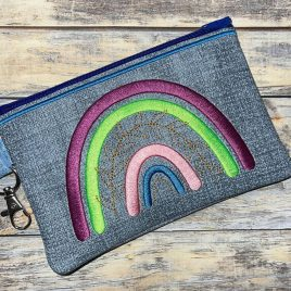 Boho Rainbow Zipper Bag – 3 sizes – Digital Embroidery Design