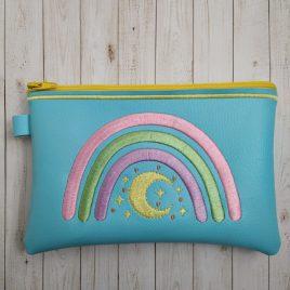 Boho Rainbow Moon Zipper Bag – 3 sizes – Digital Embroidery Design