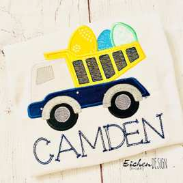 Easter Egg Dump Truck Applique – 3 sizes- Digital Embroidery Design