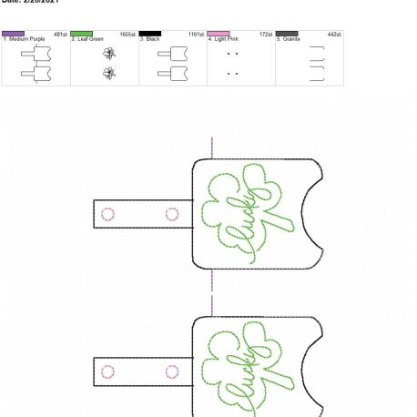 Lucky Sanitizer holder snap tab 5×7 grouped