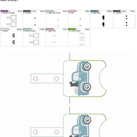 Sketch Easter Truck Sanitizer holder snap tab 5×7 grouped