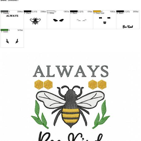 Always Bee Kind 5×7