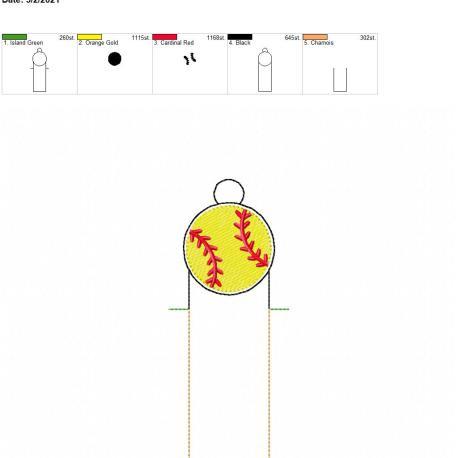 Baseball lip balm holder eyelet 5×7