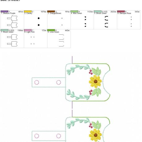 Flower Frame Sanitizer holder snap tab 5×7 grouped