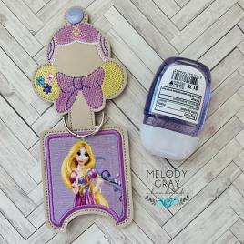 Long Hair Princess Applique Fold Over Sanitizer Holder 5×7- DIGITAL Embroidery DESIGN