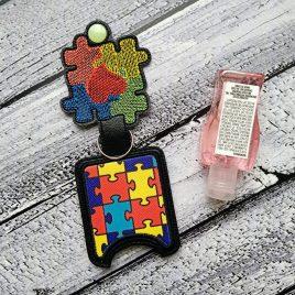 Autism Applique Fold Over Sanitizer Holder 5×7- DIGITAL Embroidery DESIGN