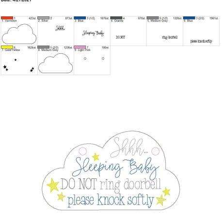 Sleeping Baby Door Sign 8×12