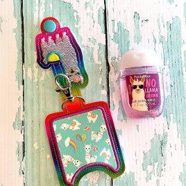 Llama Applique Fold Over Sanitizer Holder 5×7- DIGITAL Embroidery DESIGN