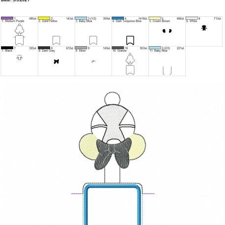 Wonderland Girl Mouse Applique fold over sanitizer holder 5×7