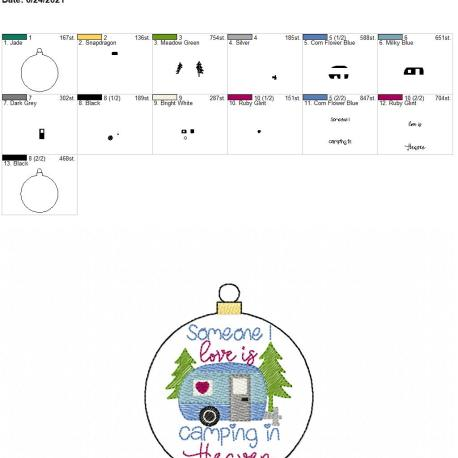 Camping in heaven ornament 4×4