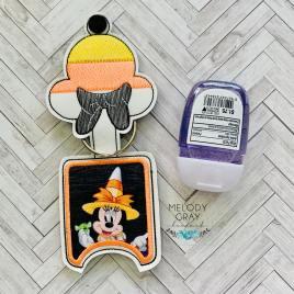 Miss Candy Corn Mouse Applique Fold Over Sanitizer Holder 5×7- DIGITAL Embroidery DESIGN