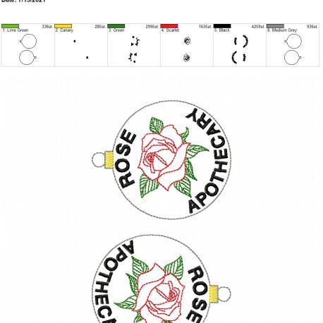Rose apothecary ornament 5×7 grouped