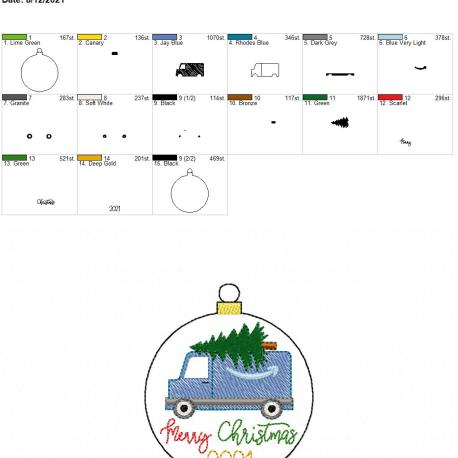 Blue Delivery Truck Merry Christmas 2021 ornament 4×4