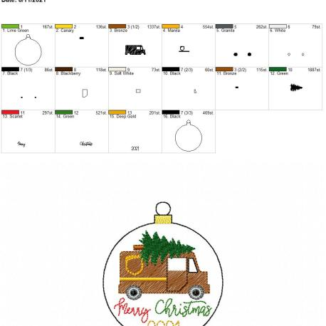 Brown Delivery Truck Merry Christmas 2021 ornament 4×4