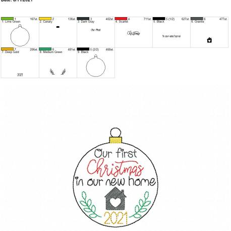 first christmas new home 2021 ornament 4×4