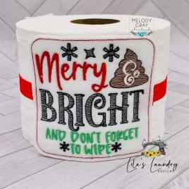 Merry & Bright – TP tie 4×4 – DIGITAL Embroidery DESIGN