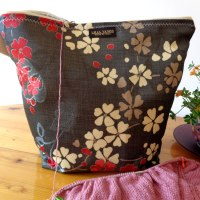 Knitting Wristlet Project Bag Large Zippered - Gray Floral - For Knitting and Crochet Projects