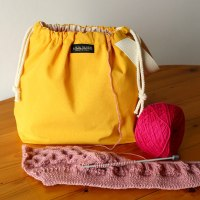 Drawstring Wristlet Project Bag - Popular Yellow - Canvas Drawstring Bag