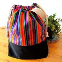 Drawstring Wristlet Knitting Project Bag Multicolor 2 - Authentic Peruvian Manta Wool Fabric - Crafts Bag